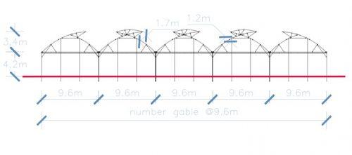 Nhà màng có hai cửa sổ mái cố định cao 1.7m và 1.2m